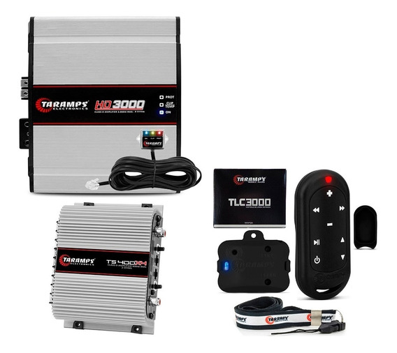 Kit Modulo Taramps Hd3000 2 Ohm + Ts 400 X4 400w + Tlc3000