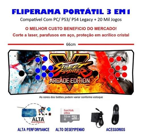 Imagem 1 de 3 de Fliperama Portátil Slim 3 Em 1 - Ryu E Ken