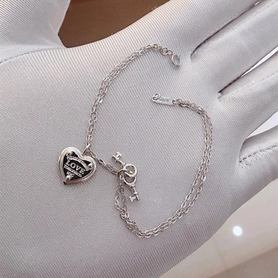 Pulseira Tiff Coração Chave Prata Com Embalagem Bracelete