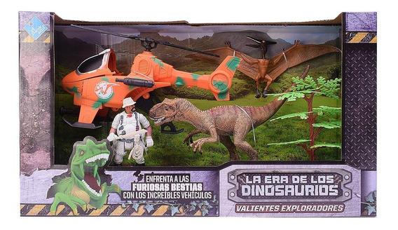 Dinosaurios Con Muñeco Y Helicoptero El Duende Azul