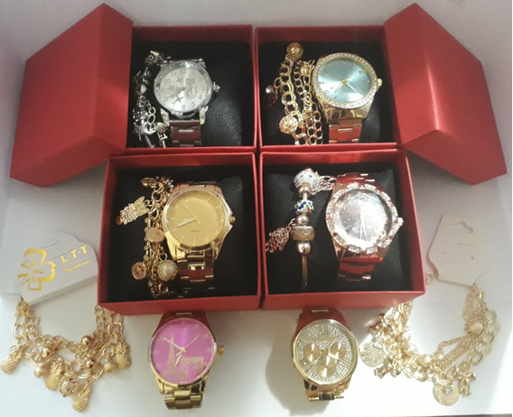 Kit C/10 Relógios Feminino Pulseira Atacado + Caixa Vermelha