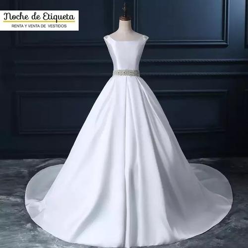 Vestido De Novia Corte Princesa Satin Cinturón Escote Recto