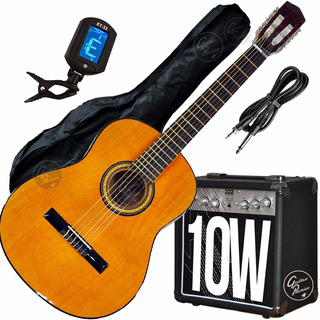 Guitarra Criolla Electroacustica Amplificador 10w Afinador +