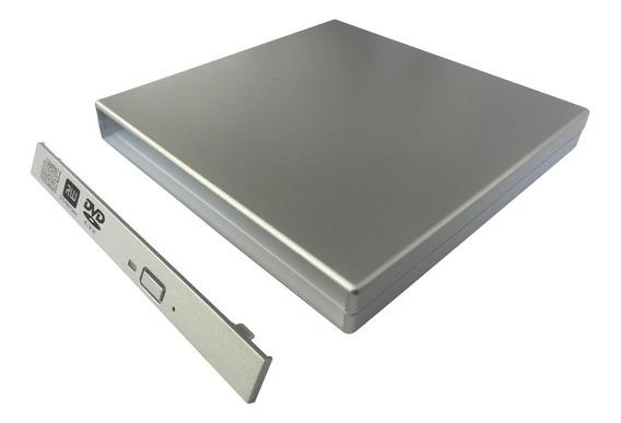 Case Prata P/ Gravador Dvd 12,7 Sata Virar Externo - Sem Dvd