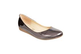 Zapato Mejillitas Flats, Piso Color Antimonio Charol