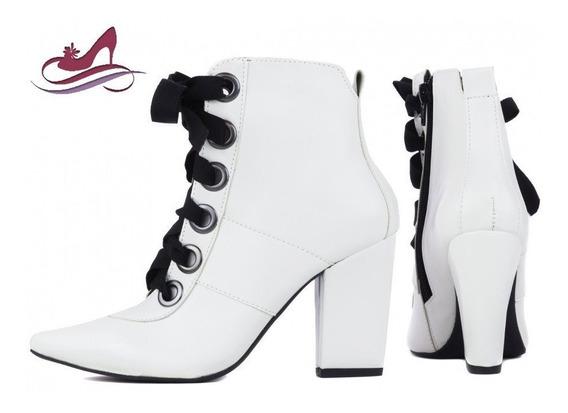 Bota Fashion Cano Curto - Branca