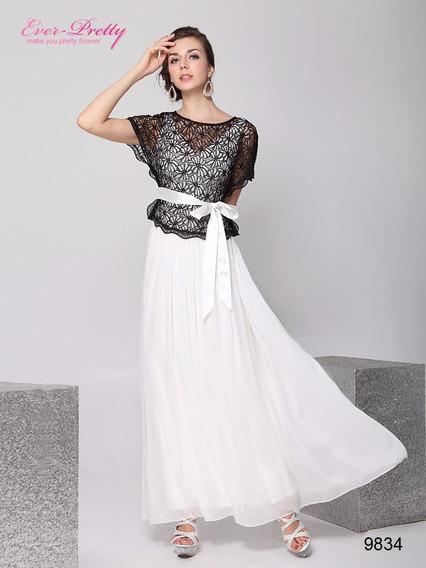 Vestido Festa Renda Guippir Preto Branco Duas Peças Faixa