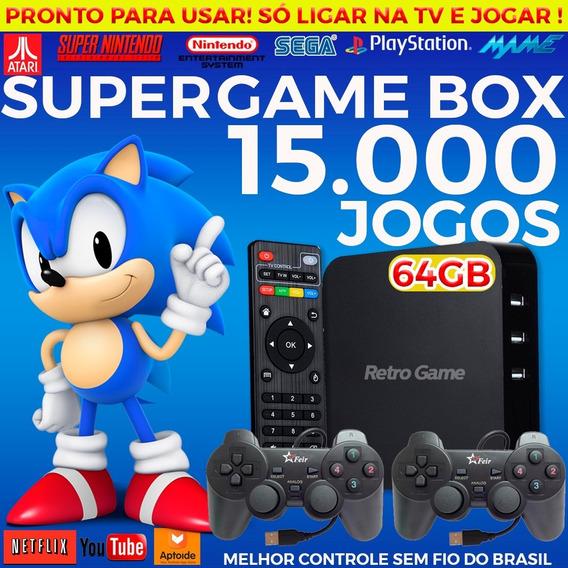 Retro Box - Video Game Retro Com 15.000 Com 4 Controles 64gb