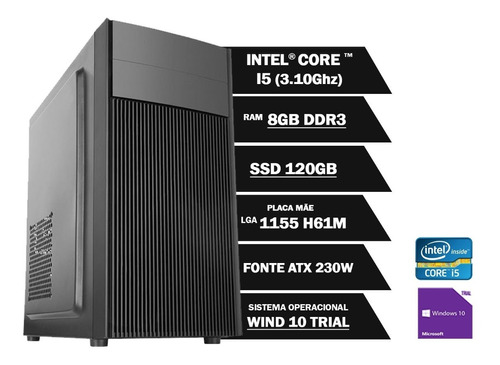 Pc Computador Cpu Core I5 8gb Ssd120gb Win10 Office