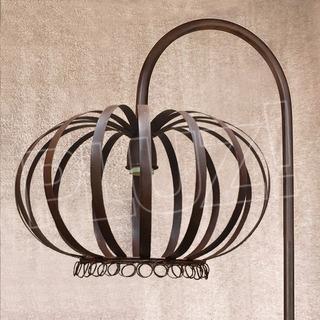 Lámpara De Pie Corona Jaula Grande - Chapa Hierro Óxido