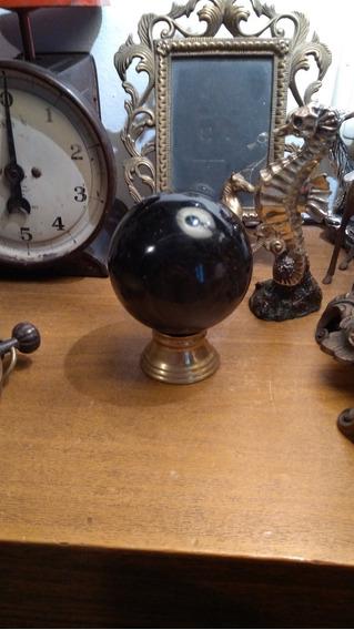 Preciosa Esfera De Obsidiana Dorada Con Base De Bronce