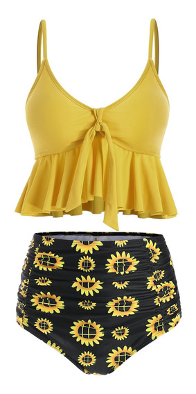 Kit De Traje De Baño Bikini Estampado Floral Para Mujeres