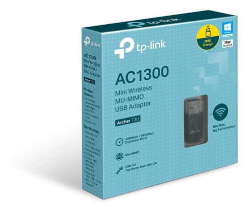 Imagen 1 de 2 de Adaptador Usb Wifi Dual Band Ac1300 Tp-link Archer T3u