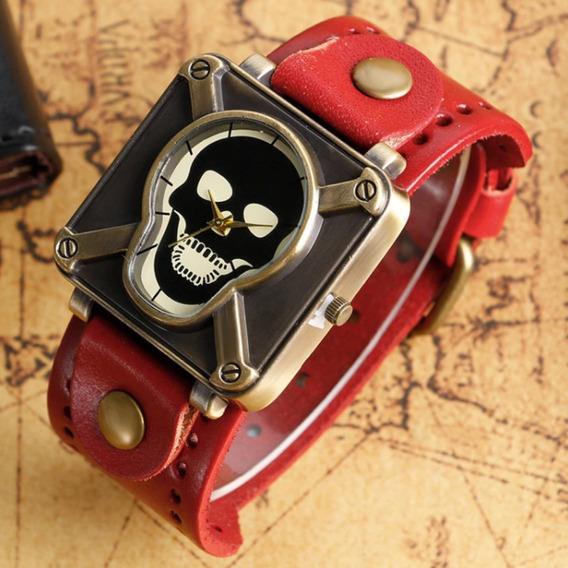 Relógio Caveira Pulseira De Couro Vermelho