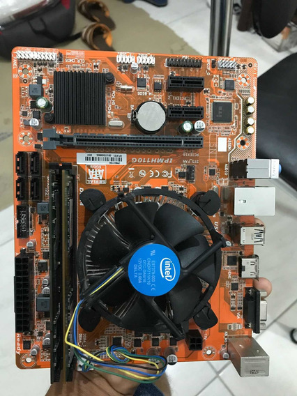 Placa Mãe Ddr4 1151 Com Duas Memórias E Processador Celeron.