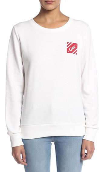 Blusão De Moletom Feminino Fechado Logo Coca-cola Jeans 4032