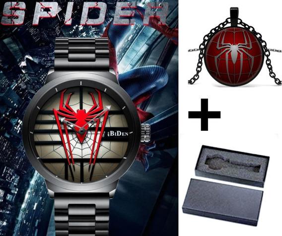 Relogio Homem Aranha+ Colar Brinde,vingadores.c/caixa,marvel,peter Parker,adulto,