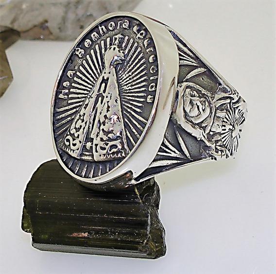 Anel Escapulario De N. Senh. Aparecida Prata 950k Ojoalheiro