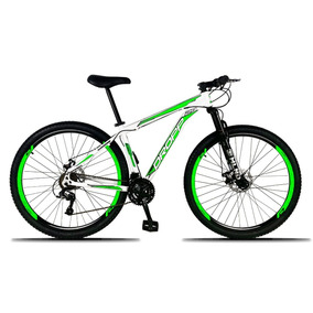 Bicicleta Aro 29 Quadro 17 Freio Disco 21 Branco Verde Dropp