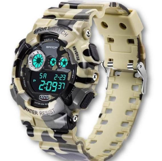 Relógio Masculino Sanda 299 Camuflado Digital Prova De Água Cronometro Calendário Alarme E Luz Esporte