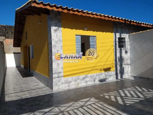 Casa Em Mongaguá, Nova A 600 Metros Do Mar . - V8316