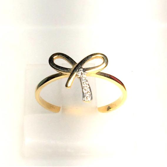 Anel Ouro 18k 750 Laço Diamantes 1,72g Frete Grátis