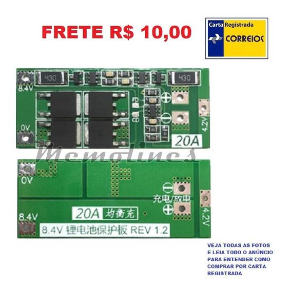 Placa Proteção Carga Bateria Lítio 18650 7.4-8.4v 2s 20a