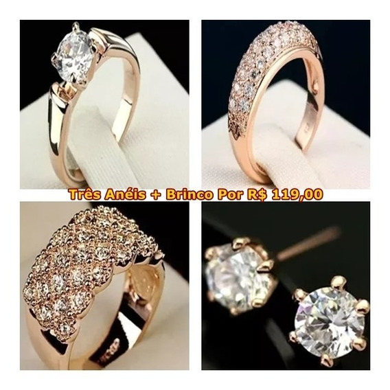 3 Anéis Com Zircônia Folheados Ouro Rosé 18 K E Brincos