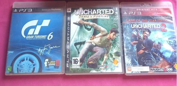 Jogos Ps3, Uncharted , Uncharted 2 E Gran Turismo 6 .