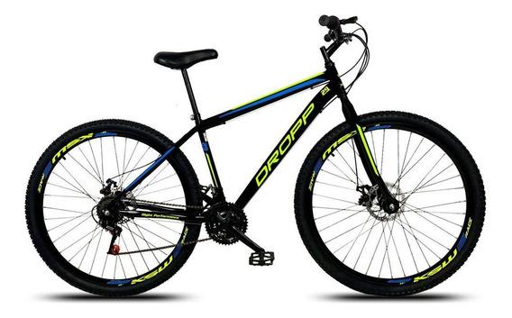 Bicicleta Aro 29 Q17 Freio Disco 21v Aço Preto Amarelo Azul