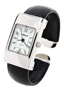 Reloj Con Brazalete De Plata Negro Serpiente Estilo Banda Ca