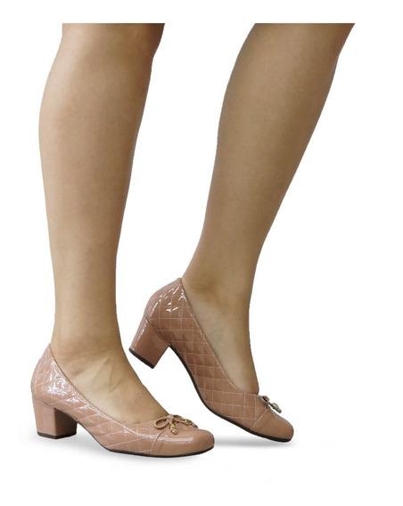 Sapato Feminino Boneca Nude Verniz Salto Baixo Grosso