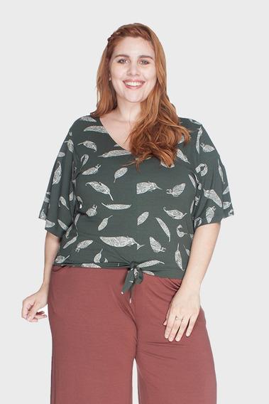 Blusa Cropped Nó Plus Size Verde-46