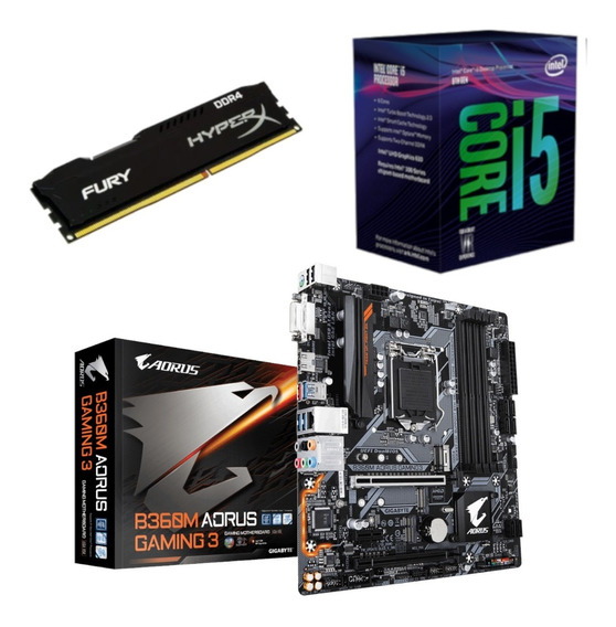Kit Intel I5 8400 + Aorus B360m Gaming 3 + Hx 4gb 2400