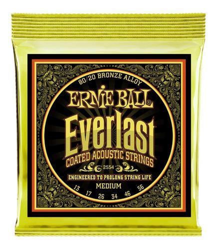 Cuerdas Ernie Ball 2554 Acustic Coated Bronce Everlast 13-56