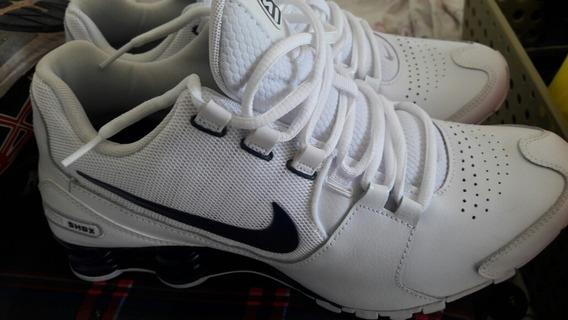 Tênis Nike Shox Avenue Ltr Branco Azul Seminovo 1 Uso De 599