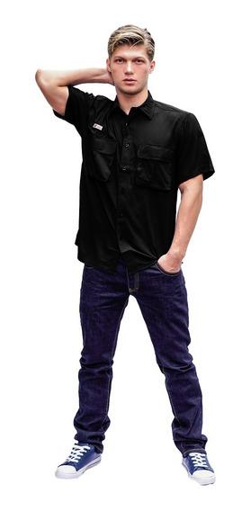 Camisas Ke Manga Corta Negro Caballeros #cc11-2701
