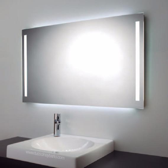 Espejo Para Baño Con Luz Led Integrada De Dos Barras 45x65cm