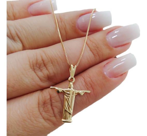 Colar Gargantilha Pingente Cristo Redentor Banhado A Ouro 18