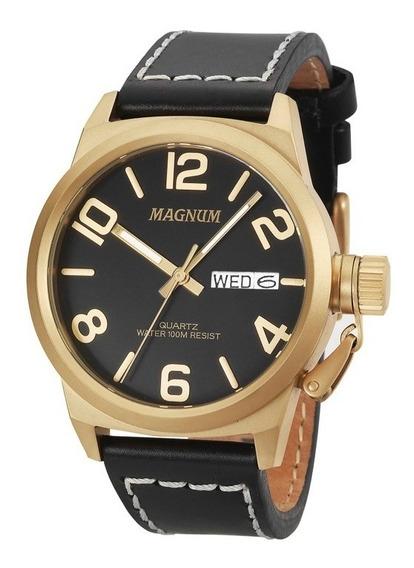 Relógio Magnum Military Pulseira Em Couro Legítimo Ma33406p
