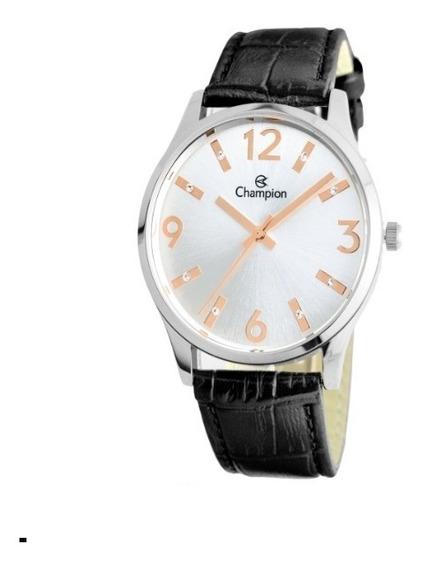 Relógio Champion De Couro Feminino Cn24217q Preto