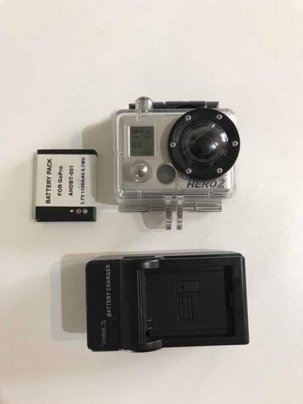 Gopro Câmera Hero 2 Com Case Carregador E Bateria Reserva