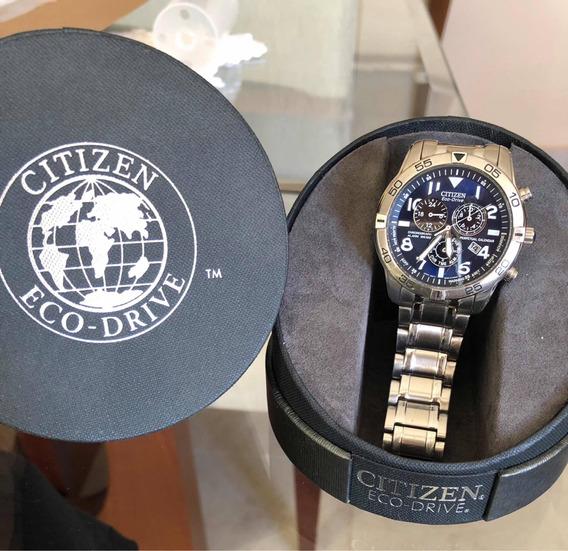 Relógio Citizen Eco-drive Azul Todo Em Aço Seminovo Na Caixa