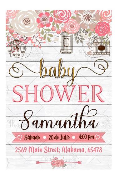Invitación Digital Baby Shower Niñas Rosas Vintage