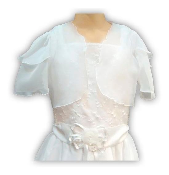 Vestido Comunion C/ Bolero Bordado Gasa Flores 116 Childrens