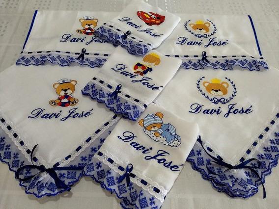 Fralda Bordada Bebê 6 Pçs Enxoval Personalizado Boca Ombro
