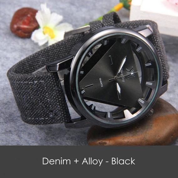 Relógio Denim Quartz Alloy - Preto- Analógico