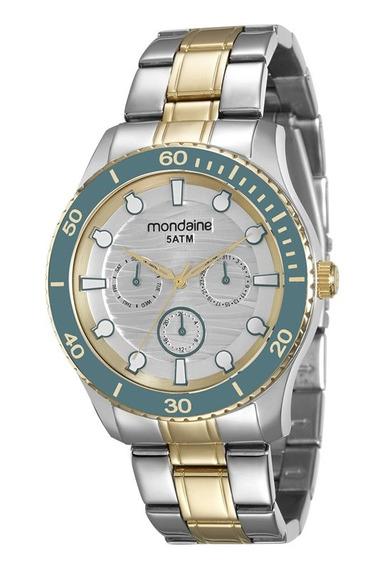 Relógio Mondaine Feminino Dourado Aro Azul 78694lpmvba4