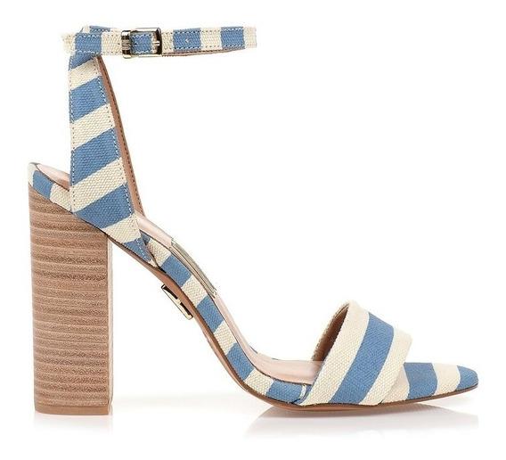 Sandália Salto Alto Striped Canvas Sky Uza Shoes