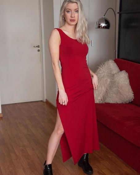 Vestido Con Tajo Largo Ideal Para Fiestas Noche Salir Verano